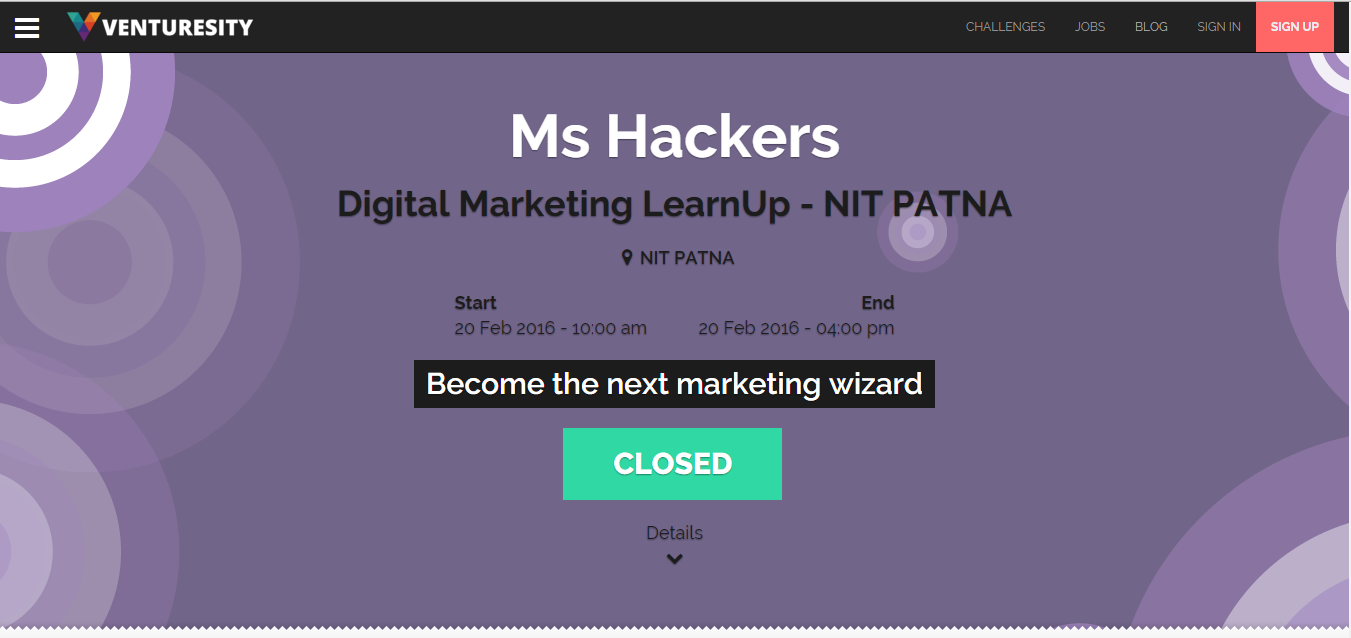SEO Learn Up in NIT Patna powered by Ventursity